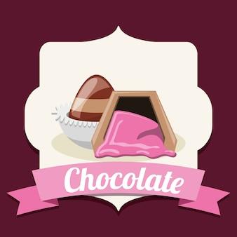 Emblema con trufas de chocolate sobre marco decorativo y fondo morado