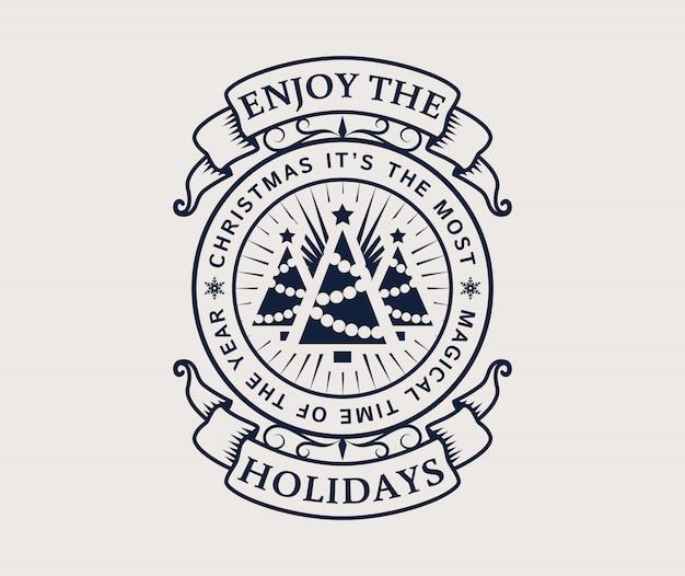 Emblema de vacaciones con árboles de navidad.