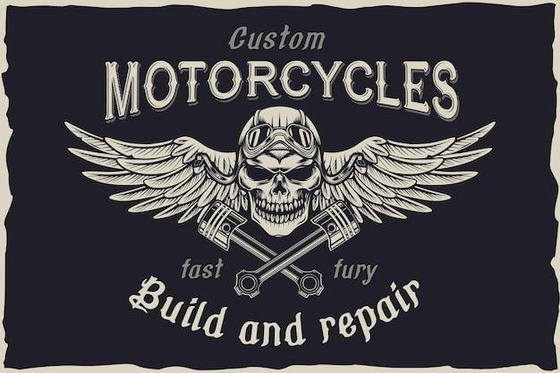 Emblema de vector de cráneo de reparación personalizada de motocicleta