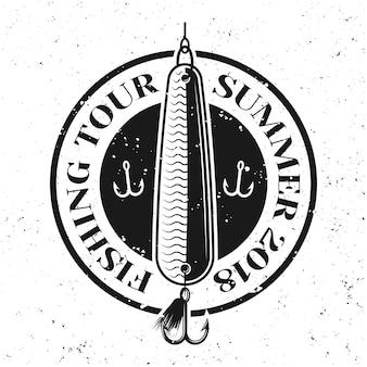 Emblema de vector de pesca con cuchara de cebo aislado sobre fondo blanco