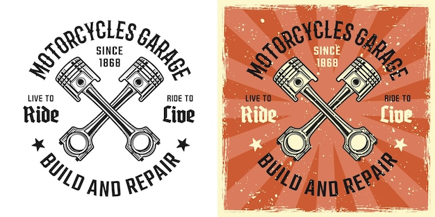Emblema de vector de pistones cruzados, insignia, etiqueta, logotipo o estampado de camiseta en dos estilos monocromo y color vintage con texturas grunge extraíbles