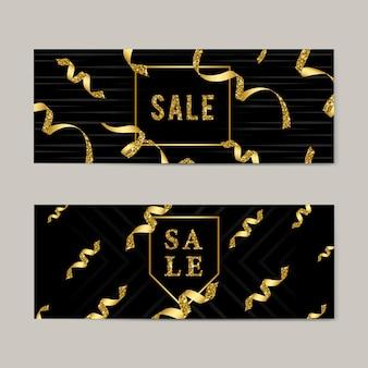 Emblema de venta con cintas.