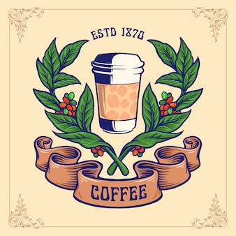 Emblema de vidrio de taza de planta de café