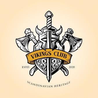 Emblema vikingo, escudo y hacha, con logotipo de cinta