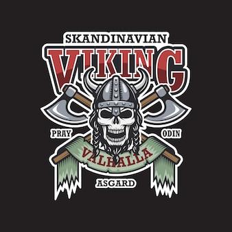 Emblema vikingo sobre fondo oscuro. de colores. tema escandinavo