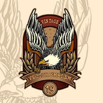 Emblema vintage con un águila