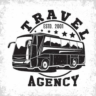 Emblema vintage de autobús de viaje