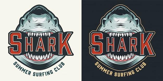 Emblema vintage colorido club de surf de verano