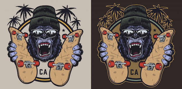 Emblema vintage colorido skateboarding