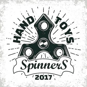 Emblema vintage de fidget spinner shop, signo de spinner de mano