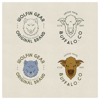 Emblema vintage logo línea animales