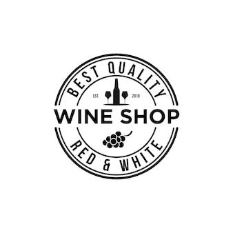 Emblema vintage de logo de tienda de vinos
