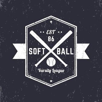 Emblema vintage de softbol, logo