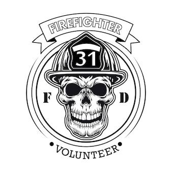 Emblema de voluntario bombero con ilustración de vector de cráneo. jefe de personaje en casco con muestra de número y texto