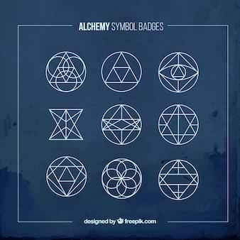 Emblemas azules de símbolos alquímicos