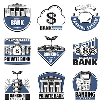 Emblemas bancarios de colores vintage con alcancía edificio dinero en efectivo pilas monedas calculadora flecha creciente aislada
