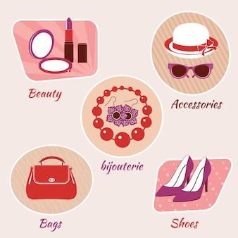 Emblemas de belleza de moda de mujer conjunto de accesorios bijouterie bolsos y zapatos aislados