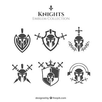 Emblemas de caballero blancos y negros