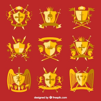 Emblemas de caballero elegantes dorados