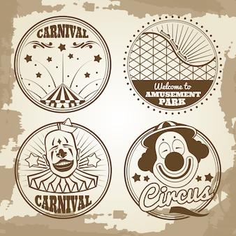 Emblemas de carnaval de circo del parque de atracciones en el fondo vintage