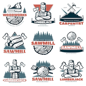 Emblemas de carpintería personalizados de leñador