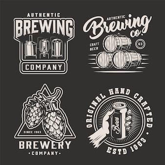 Emblemas de cervecería monocromática vintage