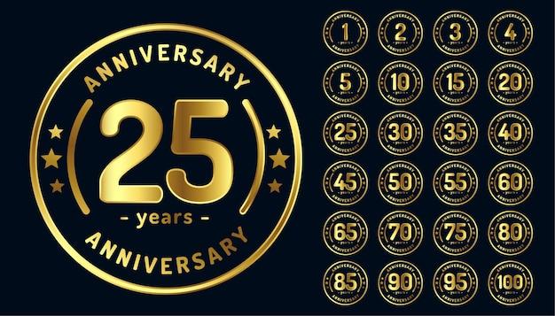Emblemas circulares de aniversario o etiquetas en color dorado.