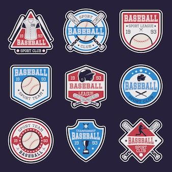 Emblemas de colores de béisbol