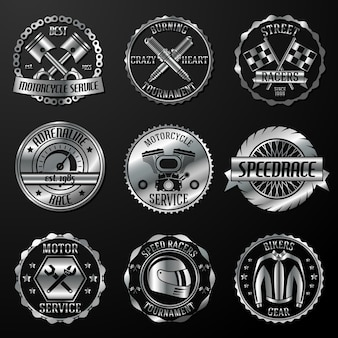 Emblemas de carreras metálicos