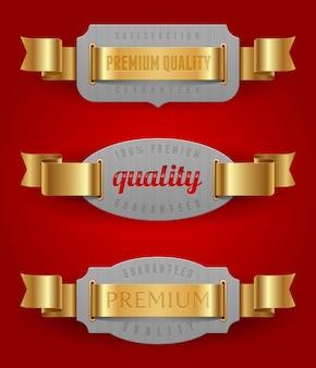Emblemas decorativos de calidad con cintas doradas - ilustración