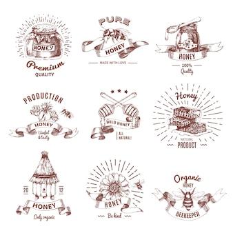 Emblemas dibujados a mano de miel