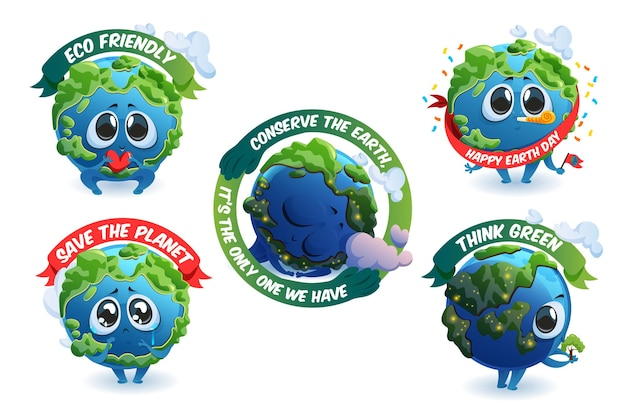 Emblemas con dibujos animados lindo de la tierra