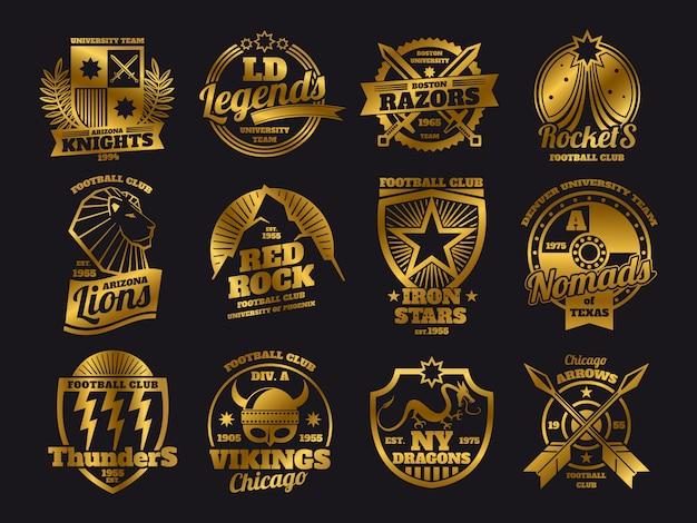 Emblemas dorados de la escuela, equipos deportivos universitarios, etiquetas deportivas en negro