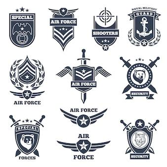 Emblemas e insignias para fuerzas aéreas y terrestres.