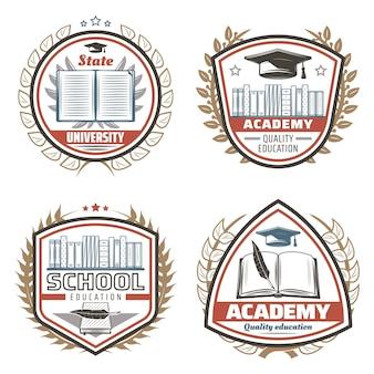 Emblemas de educación de colores vintage con inscripciones libros estantería gorra de graduación plumas florales coronas aisladas