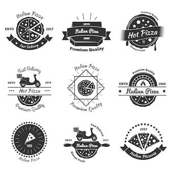 Emblemas de entrega de pizza caliente