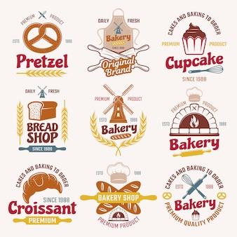Emblemas de estilo retro de productos de harina