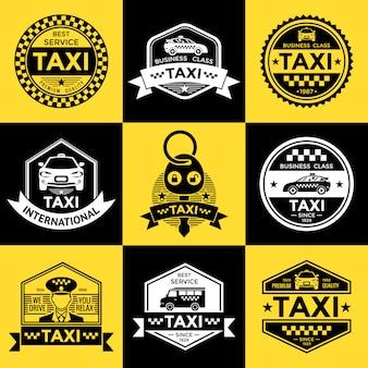 Emblemas de estilo retro de taxi