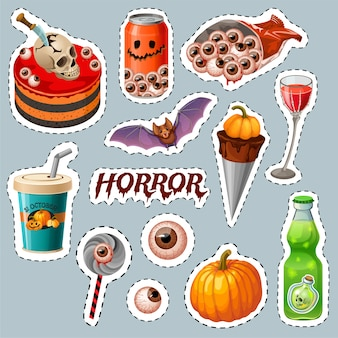 Emblemas de fiesta de halloween con tablas de madera, murciélago.