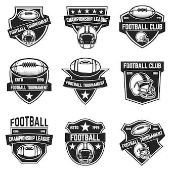 Emblemas de fútbol americano. elemento de logotipo, etiqueta, letrero. imagen