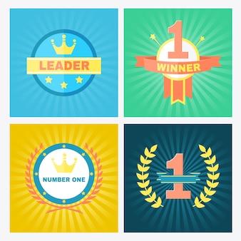 Emblemas de ganador de vector plano circular que incorporan el número 1 y coronas en coronas de laurel