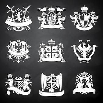 Emblemas heráldicos de pizarra