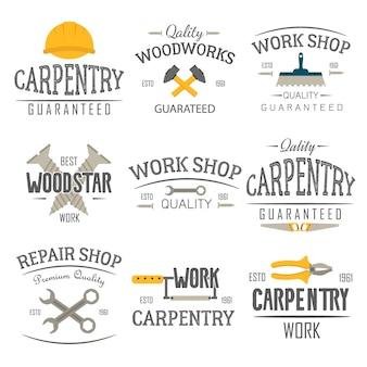 Emblemas de herramientas de carpintería y construcción. Vector Premium