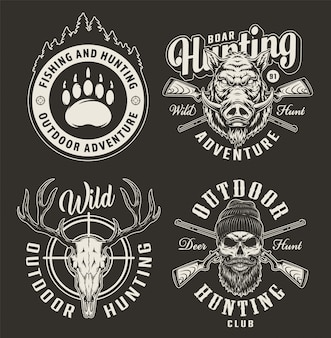 Emblemas monocromáticos del club de caza vintage
