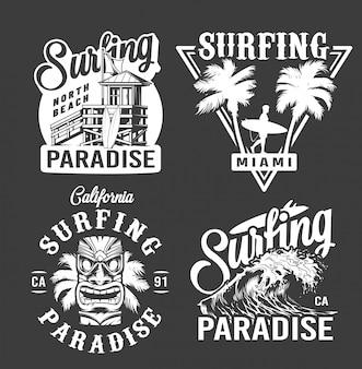 Emblemas monocromos de surf vintage