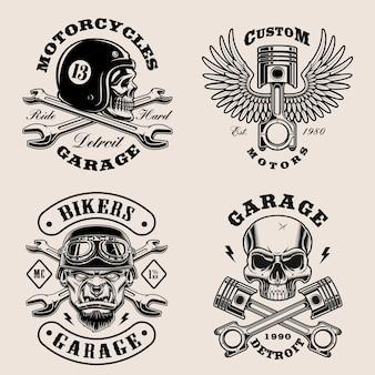 Emblemas de motociclistas en blanco y negro