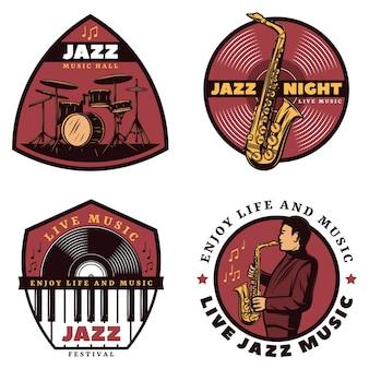 Emblemas de música jazz en vivo de colores vintage