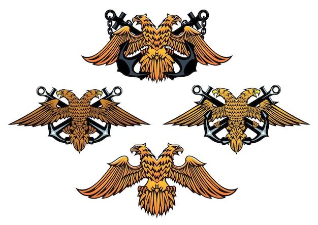 Emblemas náuticos heráldicos en estilo retro medieval con anclas cruzadas y águilas para diseño marino y marino