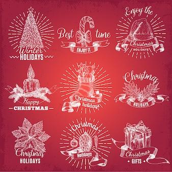 Emblemas de navidad dibujados a mano