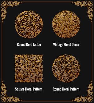 Emblemas de oro caligráficos redondos